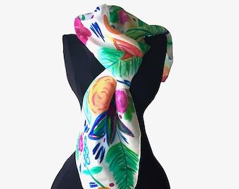 Tropical Flowers Silk Scarf - Hand Painted Silk Scarf