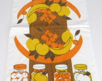 Vera Neumann fruit kitchen towel, yellow orange brown mid century 1960s fruit in canning jars, fruit basket, Vera linens