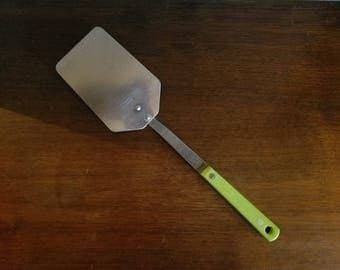 Vintage Stainless Steel Spatula Ace USA, Neon Green Handle, 1950's