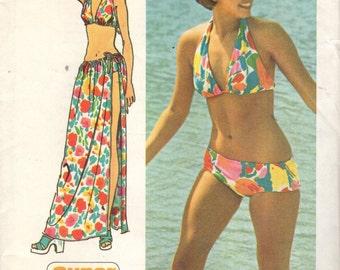 Simplicity 5644 Super Jiffy 1970s  BIKINI And WRAP Tie SKIRT Size 6 Vintage 1973