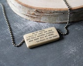 The Fault In Our Stars Quote, As he read, I fell in love the way you fall asleep, Romantic Love Quote, Literary Pendant Necklace, Type Words