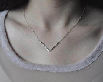 Silver Chevron Necklace -  V Shape Necklace - Arrow Necklace -  Silver V Necklace