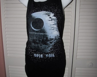 black Star Wars inspired Epic Fail Death Star dark side cut up shredded backless t shirt tank top tunic one size fits most