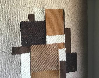 Huge 5'+ Midcentury Modern Fiber art wool weaving with fringe and teak hanger