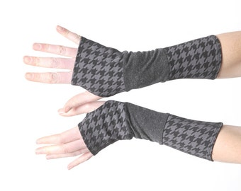 Grey jersey armwarmers, long fingerless gloves, grey and black patchwork armwarmers, stretchy fingerless gloves