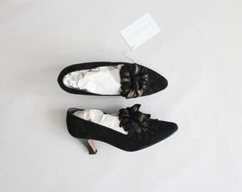 black floral heels | size 7.5 heels | black suede heels