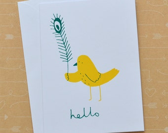 Hello Bird & Feather - Screenprinted Card