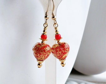 Red Murano Heart Earrings, Red Venetian Heart Earrings, Red Glass Earrings,  Gold Drop Earrings, Gold Statement Earrings, Murano Jewelry