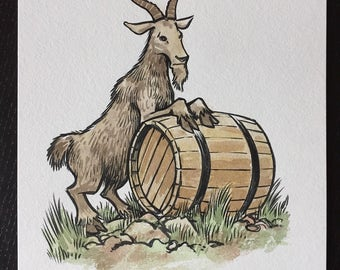 Goat and Barrel original ink and watercolor painting