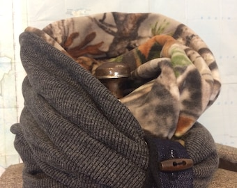 CAMOUFLAGE and GREY infinity scarf - reversible cowl, multiple styling options. Camo fleece and grey sweater knit, denim and button accent.
