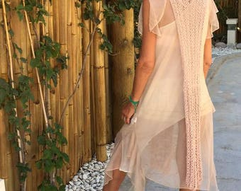 nude beige  tribal vest tunic, beach cover up, long vest, beach fashion