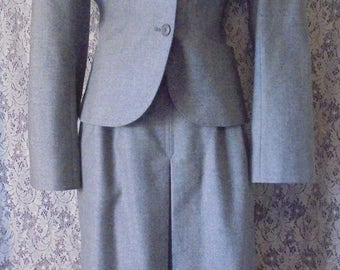 Gray wool suit vintage 60s skirt jacket 100% wool small from vintage opulence on Etsy