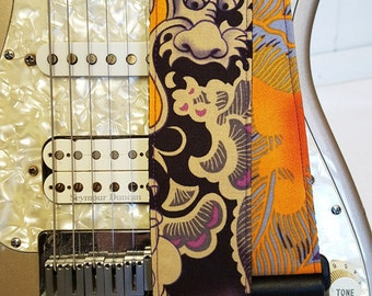 purple Asian dragon guitar strap