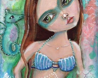 Mermaid painting, Mixed media painting, Original art, Big eyed girl, Children's art, Home decor, Seahorse,