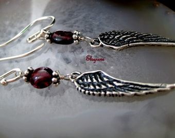 Minimalist Fine Oxidized Sterling Silver Angel Wing earrings-Silver Wing and garnet earrings-Dainty wind earrings-boho-gift for her-blacked