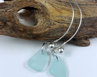 Sea Glass Earrings  Aqua Sea Glass Earrings Sea Glass Jewelry Blue Beach Glass Blue Sea Glass E-209