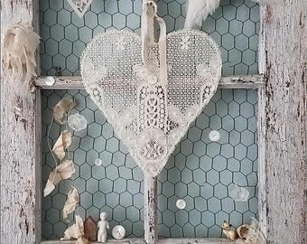 Lace Heart, Wire Heart Wreath, Wedding Chair Sign, Flower Girl, Ring Pillow Alternative, Jewelry Holder, Nursery, Shabby Chic, Vintage Lace