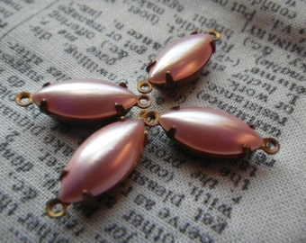 Luminous Vintage Dusty Rose Pearl-Coated Glass 15x7mm Navette Brass Ox Earring Drops or Connectors 4 Pcs