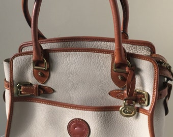 Vintage Dooney and Bourke R212 BO Buckle Satchel, All Weather Leather, Doctor's Bag, Bone Color and British Tan Trimming, Top Handled Bag