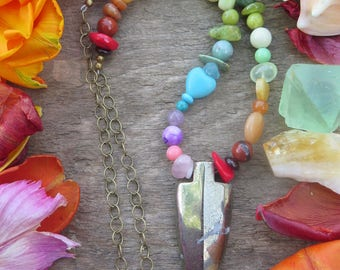 Rainbow Stone Crystal and Arrowhead Necklace - Brass Chain Metallic Grey Pyrite -  Gemstone Ombre - Womens Colorful Bright Funky Jewelry