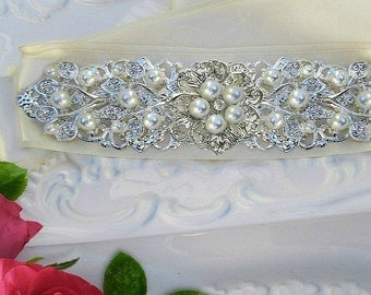 Sale, Pearl wedding sash bridal belt Crystal wedding dress sash Silver bridal belt crystal ivory sash Rhinestone ribbon sash jeweled