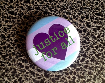 """2 1/4"""" pin Transgender Justice for All LGBT button"""