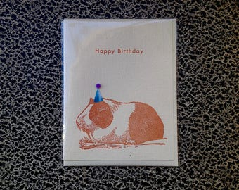 guinea pig party hat birthday letterpress card