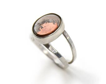 Copper Lake Superior Agate Handmade Double Banded Sterling Silver Ring