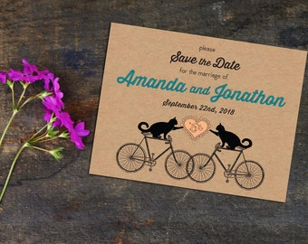 Cats on Bikes Save the Date, Fun Save the Date Cards, Postcards or with envelopes, Save the Date Announcements, Engagement Announcement
