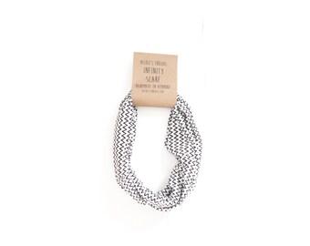 Infinity Scarf - Jersey - Black and White - Chevron - Zig Zag - Knit Fabric - Stretch - Scarf