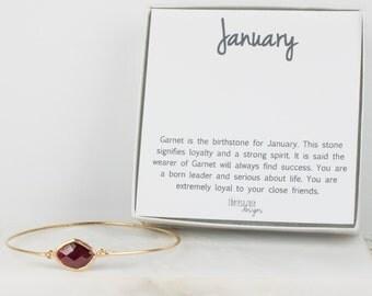 January Birthstone Gold Bangle, Garnet Gold Bangle, January Birthstone Gold Bracelet, Garnet Bracelet, Bridesmaid Jewelry, January Gift