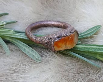Electroformed Oregon Sunshine Ring size 6 | Copper Electroplated Rings | Aged Patina | Organic Rustic and Natural Style | Golden Labradorite