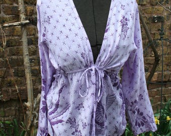 Lavender purple Indonesian rayon shirt drawstring long sleeve small medium