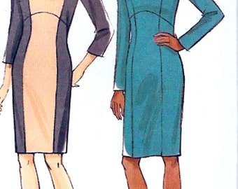 Custom fit dress Chic fitted knit day style sewing pattern Vogue 9017 Size 14 to 22 includes plus sz Uncut