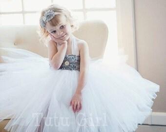 Flower Girl Tutu Dress, Gray Tutu Dress Girls, SEWN White Tutu Dresses, Ivory and Grey Flower Girl Dress, Custom Colors - You Design It