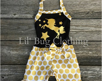 Unicorn Pony Girls Romper Short Outfit, Unicorn Pony Gold Black Romper Outfit, Unicorn Pony Birthday Summer Girl Party Outfit