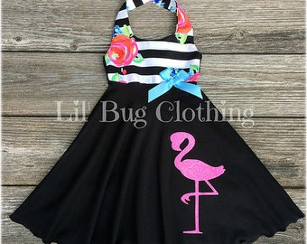 Flamingo Floral Stripe Dress, Flamingo Zoo Stripe Dress, Custom Boutique Toddler Pink Flamingo Dress, Black White Stripe Girl Dress