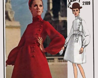 1960s Jean Patou Coat Dress w/ High Collar Fitted Bodice VOGUE Paris ORIGINAL 2109 Vintage 60s Designer Sewing Pattern Sz 10 B32.5 + Label