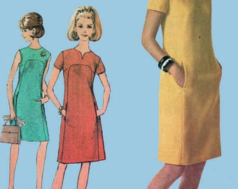 Vintage MOD Shift Dress w/ Front Seam Instrest Sewing Pattern Simplicity 6959 Vintage 60s Sewing Pattern Size 12 Bust 32