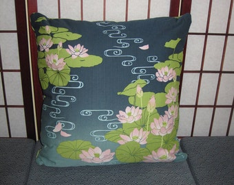 Water Lilies Lotus Pond Design Zippered Japanese Furoshiki Pillow Cover Navy