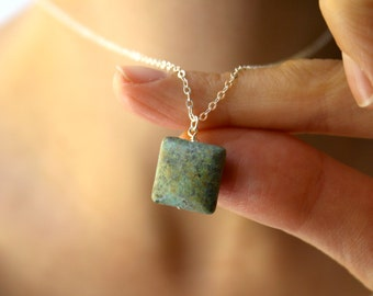 Square Pendant Necklace . African Turquoise Necklace . Raw Turquoise Necklace . December Birthstone Jewelry - Corinth Collection NEW