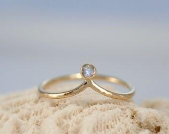 Moonstone chevrong ring, gold chevron stacking ring, 14k eco-friendy recycled gold ring, Rachel Wilder Handmade Jewelery