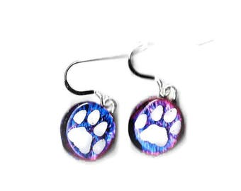 Dog Paw Earrings, Animal Lover Gift, Puppy Paw Earrings, Dog Jewelry, Animal Earrings, Paw Print Earrings, Dog Lover Gift, Dichroic Earrings
