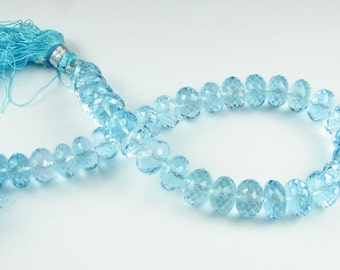 Exquisite Swiss Blue Topaz Beads - Micro Faceted Rondelle Beads 8mm - 9mm Gemstone Beads (2 gems) Matched Pair for Earrings