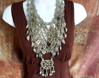 Collectible Old Vintage Bib Necklace from Afghanistan, Ethnic Chain Necklace, Old Tribal Necklace from Afghanistan