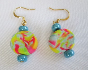 Sky Blue, Yellow, and Pink Sculpey and Glass Beaded Earrings