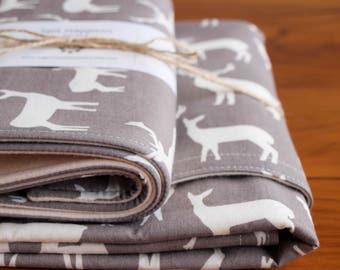 Gray Deer Baby Blanket and Burp Cloth Gift Set; Handmade Organic Cotton Baby Gift; Woodland Receiving Blanket, Burp Pads; Elk Family Pewter