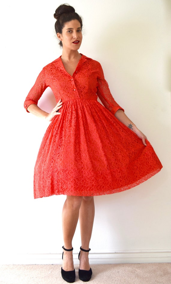 SPRING SALE/ 20% off Vintage 50s 60s Deck the Halls Red Lace New Look Shirt Waist Dress (size small, medium)