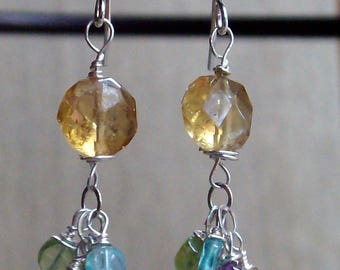 Circles of Gemstones  Sterling Silver