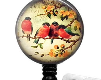 ID Badge Reel - Birds on a Branch under Glass Dome, Name Badge Holder 64